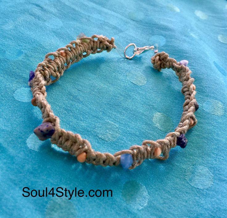Hemp cord macrame crystal bracelet by Soul4Style on Etsy https://www.etsy.com/au/listing/474796360/hemp-cord-macrame-crystal-bracelet
