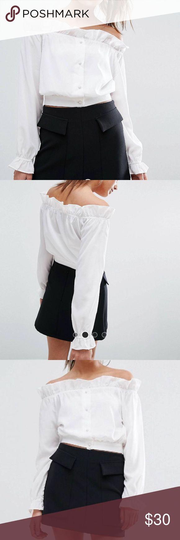ASOS- White Off Shoulder Ruffle Detail Bardot Top ASOS- White Off Shoulder Ruffle Detail Bardot Top- never worn! ASOS Tops Blouses