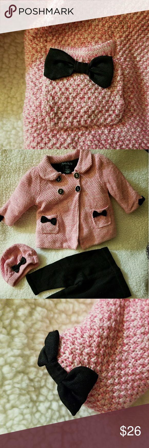 Pink/black pea coat set Very cute vintage look baby girls pea coat set. Cynthia Rowley Jackets & Coats Pea Coats