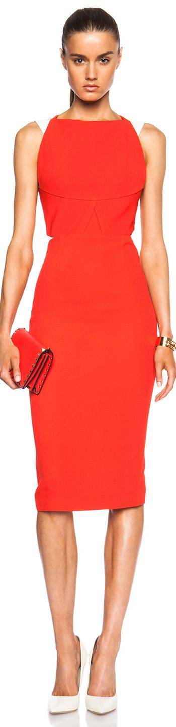 ROLAND MOURET QUEBEC DRESS BRIGHT  RED AND WHITE