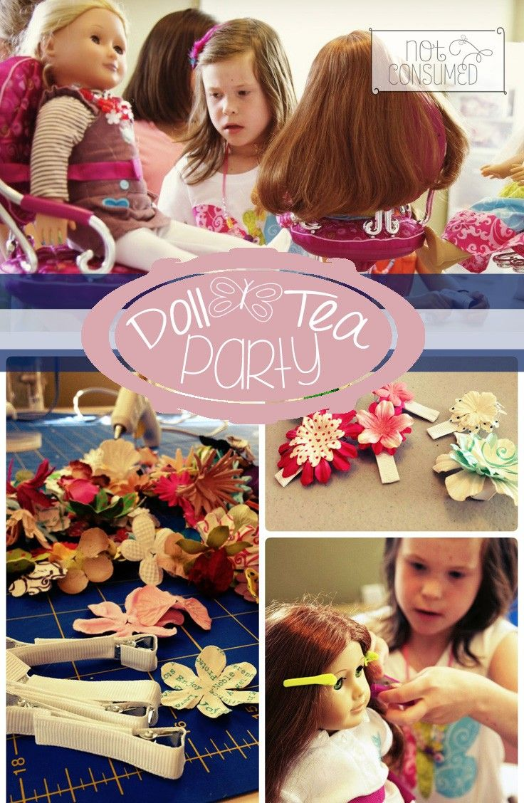 Doll tea party ideas, crafts and food.  Perfect for your little girl's next birthday!