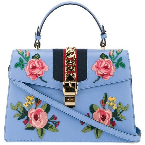 Gucci Gucci Medium Sylvie Applique Tote (12.150 RON) ❤ liked on Polyvore featuring bags, handbags, tote bags, blue, genuine leather tote, blue leather handbags, leather purses, gucci handbags and blue leather purse