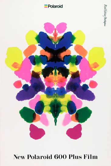 ✖ Alan Fletcher -  mental patients asked to say what they saw in the ink. here this idea is used to show how colourful polaroid photos are.
