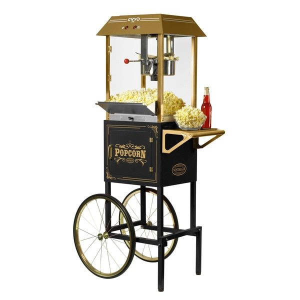 Nostalgia CCP1000BLK 59-inch Tall Vintage Collection 10 oz. Kettle Popcorn Cart