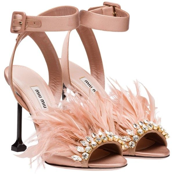 Miu Miu SANDALS ($940) ❤ liked on Polyvore featuring shoes, sandals, heels, miu miu, high heeled footwear, feather heels shoes, satin shoes, decorating shoes and heeled sandals