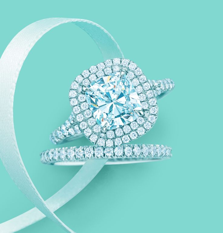 Worthy of your eternal love. Tiffany Soleste® engagement ring with matching diamond band.