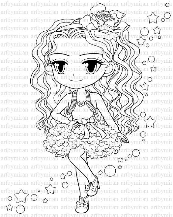 Digital Stamp-Star, Pretty Girl Coloring page, Big eyed girl Digi Stamp, Printable Line art for Card and Craft Supply, Art by Mi Ran Jung