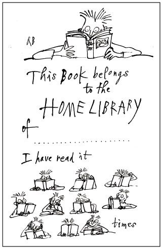 Bookplate design by Quentin Blake • Blake is an illustrator for children's books and has been well-known for his collaborations with writer Roald Dahl.
