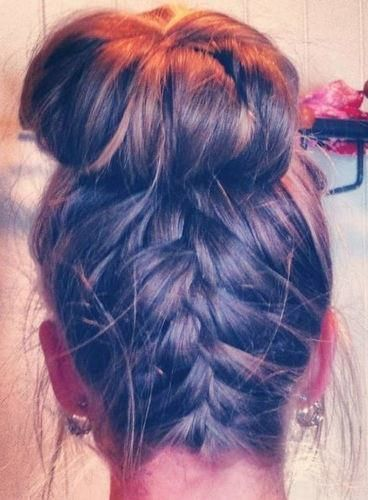 Upside Down Braid Bun. This is so cute. I want my hair to grow so I can do this!