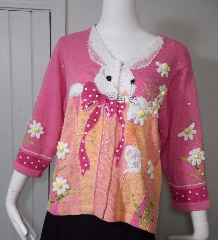 Design Options by Philip & Jane Gordon Sweater Pink Easter Bunny Rabbits SZ L in Clothing, Shoes & Accessories, Women's Clothing, Sweaters | eBay