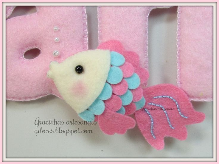 Sea themed felt name banner Handmade by Gracinhas Artesanato