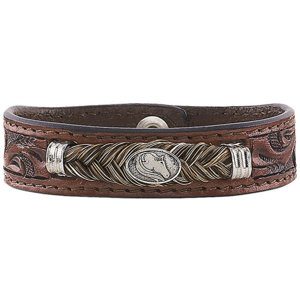 8273e4f9bbd Tooled Leather and Horse Hair Bracelet - Horse Themed Gifts
