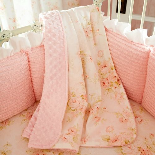 Shabby+Chic+Baby+Bedding | Baby Blanket in Pink Floral with back in Pink Dimpled Minky