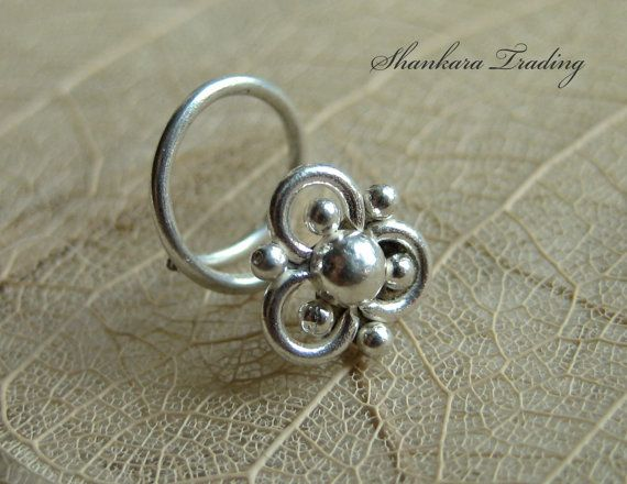 Nose Stud Sterling Silver Nose Stud Tribal Nose by ShankaraTrading
