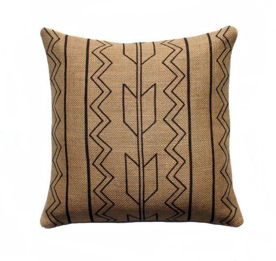 Tribal Burlap Pillow Cover, Arrow Pillow, Aztec Throw Pillow, Decorative, Rustic, Southwestern, Black and Beige16x16