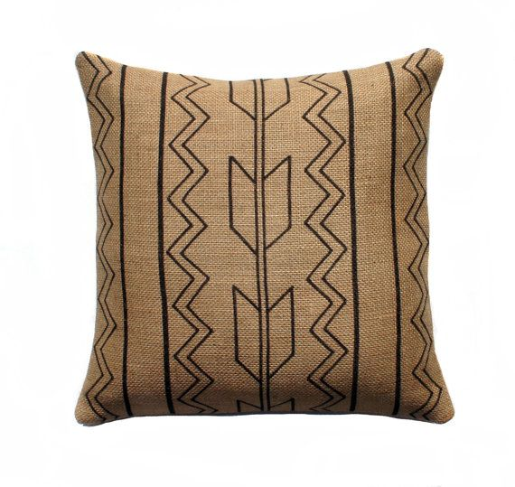 Tribal Burlap Pillow Cover, Arrow Pillow, Aztec Throw Pillow, Decorative, Rustic, Southwestern, Black and Beige16x16