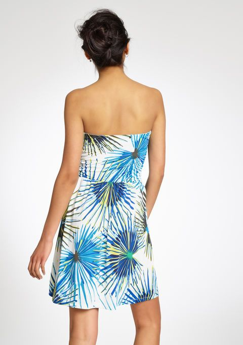 Geprinte en kleurrijke bustier jurk - IVORY WHITE - 08004193_1011