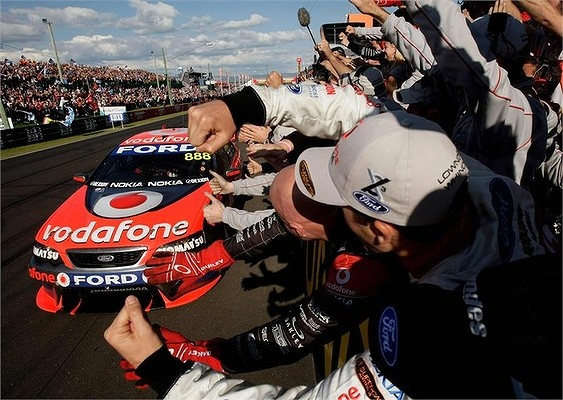 The 888 Ford Falcon on Craig Lowndes and Jamie Whincup wins the 2008 Bathurst 1000.