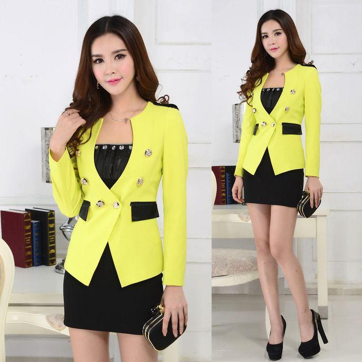 Cheap Novedad Formal para mujer Skrt trajes para mujeres trajes de negocios  chaqueta amarilla Feminino damas