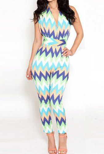 $13.36 Sexy Women's Halter Multi-Colored Wavy Jumpsuit