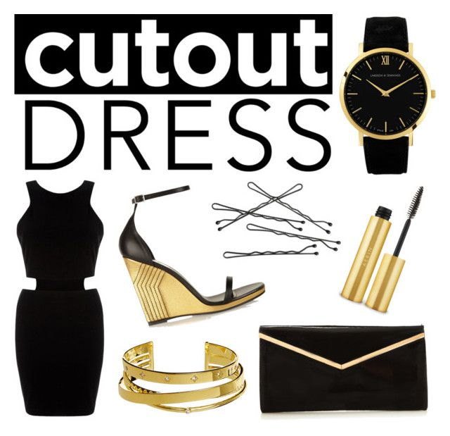 Cutout Dress by alexfreyberg on Polyvore featuring polyvore, fashion, style, AX Paris, Yves Saint Laurent, Larsson & Jennings, Elizabeth and James, AERIN, clothing, blackandgold, NightOut and cutoutdress