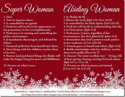 Looking to keep your holidays stress free? Check out today's post to learn how you can avoid all of the holiday stress this year and have a wonderful Christmas season! http://www.confessionsofahomeschooler.com/blog/2014/12/super-woman-vs-abiding-woman.html