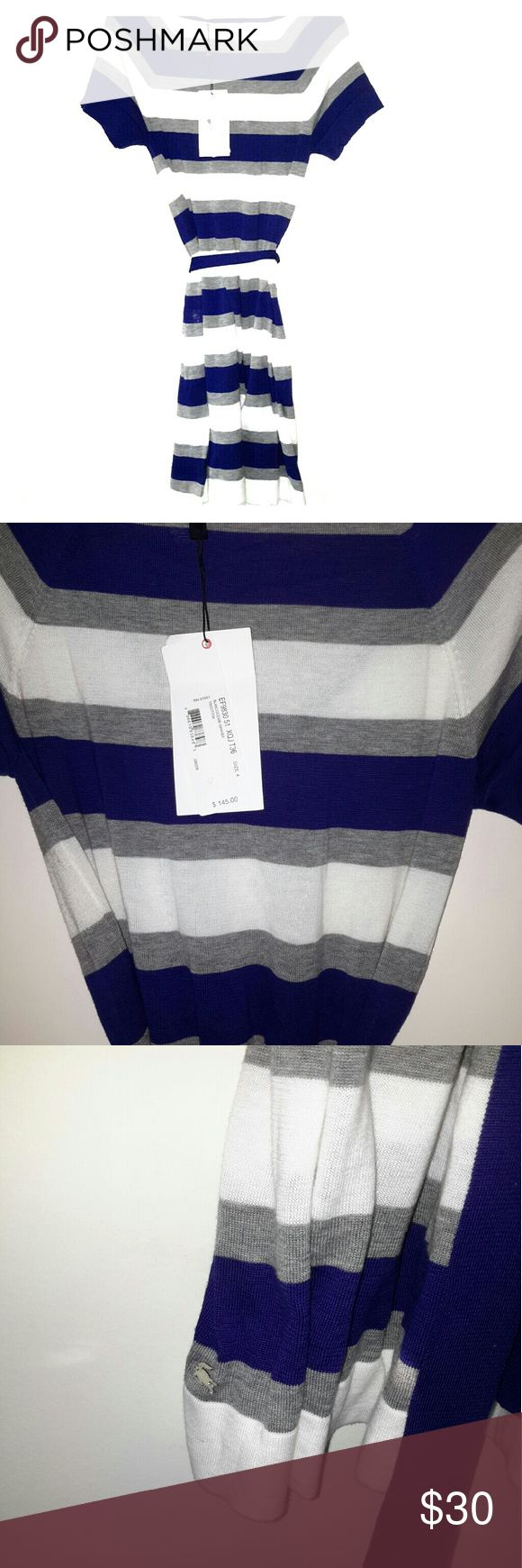 La Coste bold stripe light weight sweater dress be Women's Bold Stripe Sweater Dress. Any figure looks its best in this pima cotton sweater dress, an elegant yet casual essential to wear with low sneakers. Wide sailor stripes and ribbed finishes bring in seaside style at high tide.Pima cotton jersey Lacoste Dresses