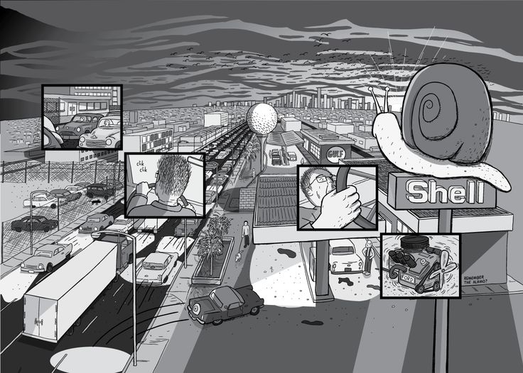 High angle view of a suburban fuel station at sunset. Shell Oil logo on pole at gas station in urban sprawl scene at dusk. Rush hour traffic driving past the petrol station in late afternoon light.  Image from Stuart McMillen's comic Peak Oil (2015), from the book Thermoeconomics (2017).
