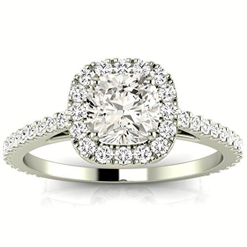 1.06 Carat 14K White Gold Gorgeous Classic Cushion Halo Style Cushion Cut Diamond Engagement Ring (D…
