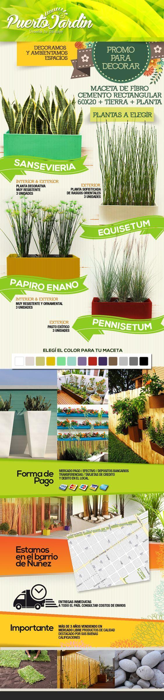 Macetas Jardinera + Plantas Para Tu Comercio, Balcón - $ 628,00:
