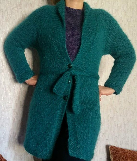 9d8d00b72 Women hand knit green cardigan with button Alpaca wool jacket Long cable knitted  cardigan Size 8-12 Ocean green long cardigan