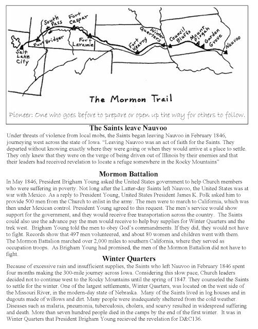 The Mormon Trail - A Handout to go with Lesson 148: The Trek across Iowa; Doctrine and Covenants 136:1–18