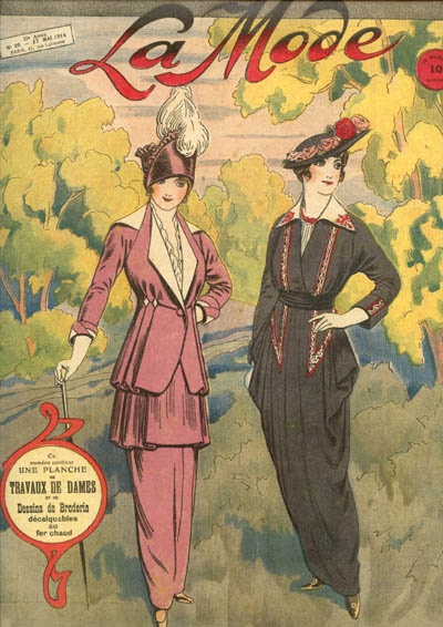 1914 La Mode magazine, my favorite pink suit is just waiting for a pattern to make it, double skirt layer, interesting white collar in back, and white & pink plaited cuff trim, peaked brim on the hat/touque with floofy ostrich feathers
