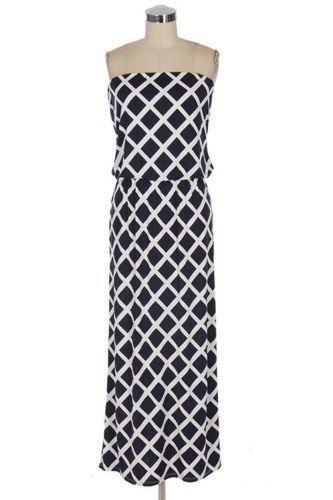 New Navy Blue And White Drop Waist Lattice Maxi Dress