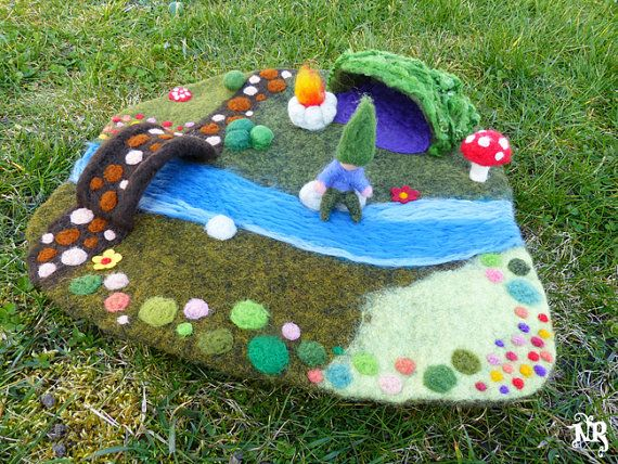On order Playmat felted wool (waldorf) -gnome pixie fairy toy tale toadstool playscape woodland moss grass rocks mushroom bridge multicolors