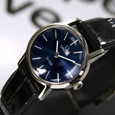 Omega Ladies De Ville Manual Winding Cal 625 Blue Dial vintage Swiss Made  Watch