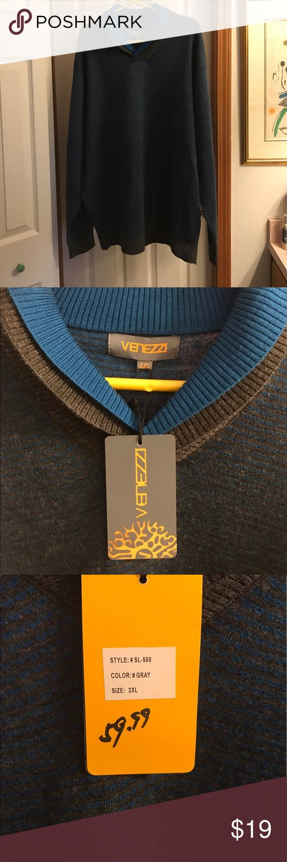 🔷🔹NWT🔹🔷Venezzi Men's 2X Big & Tall Sweater New With Tags!  2X Big and Tall Venizzi Men's Sweater. Very thin blue and gray lines with a double collar and gray cuffs and bottom. This sweater is fab!  Even though it's a men's sweater, it's the perfect sweater for anyone to cuddle up in. Maybe by the camp fire?🔥 Venezzi Sweaters