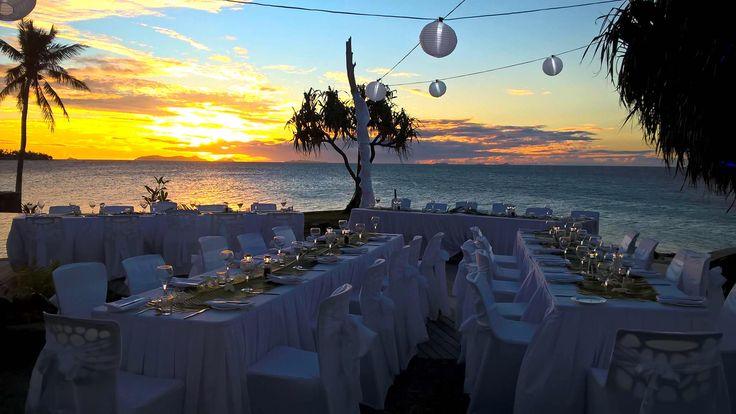 Sunset wedding reception
