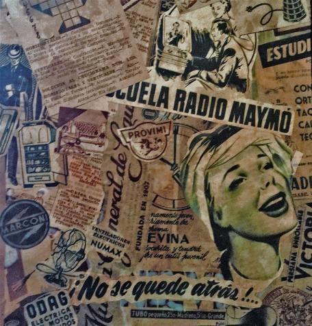 - Cuadro collage realizado con anuncios publicitarios y recortes originales auténticos de periódicos españoles antiguos.    - Años: 1940/45.  - Tamaño: 22 cm.(ancho) X 28,5 cm. (alto). 35 €.