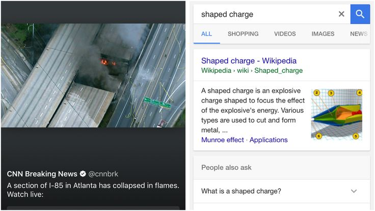 """Shaped charge - Wikipedia https://en.m.wikipedia.org/wiki/Shaped_charge ⚡️ """"Fire breaks out under Atlanta highway, causing overpass collapse"""" https://twitter.com/i/moments/847600437570150401"""