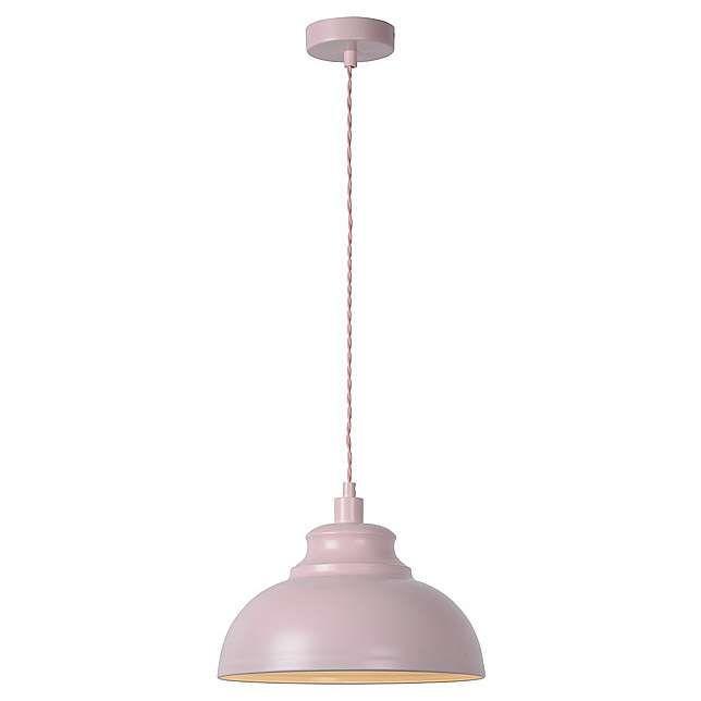Wisząca LAMPA vintage ISLA 34400/29/38 Lucide metalowa OPRAWA zwis kopuła retro kremowa matowa