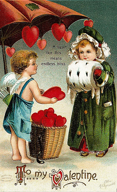"""Cupid: """"A heart like this means endless bliss."""" - Love the artwork on vintage valentines."""