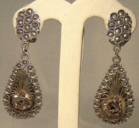 Rose Gold Sterling Silver Drop Dangle Marcasite Earrings 1930s