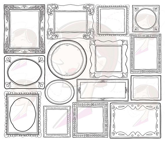 Decorative Doodle Frames Borders Digital Clip Art Cute Teacher Scrapbook Supplies Label Tag Drawn Sketches Photographer Picture Frames 10004...
