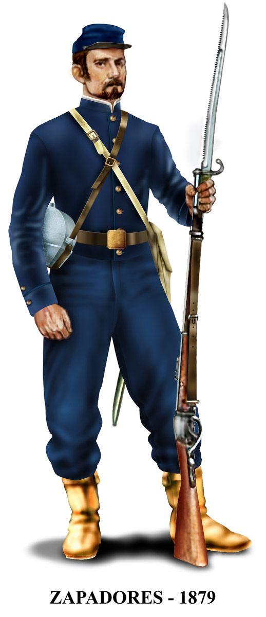 Este es el famoso Zapadores, que desembarcó en Pisagua, combatió en Tarapacá, perdió a su comandante en Tacna, y se lució en la reserva en Chorrillos y Miraflores. También estuvo entre los que terminaron la guerra en Huamachuco.