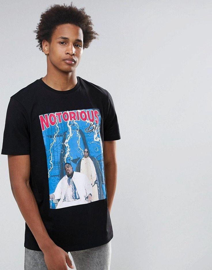 ASOS Notorious Big Longline Band T-Shirt - Black