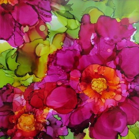 Peonies done in Alcohol Ink on Yupo paper