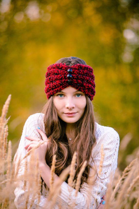 Вязаная модная теплая повязка тюрбан на голову от OHANSA на Etsy