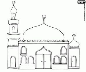 A mosque with the domes and the minaret coloring page