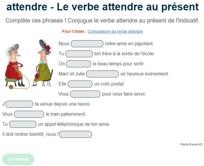 Le verbe attendre au présent de l'indicatif. Exercice de français Cm1 en 2020 | Exercices ...